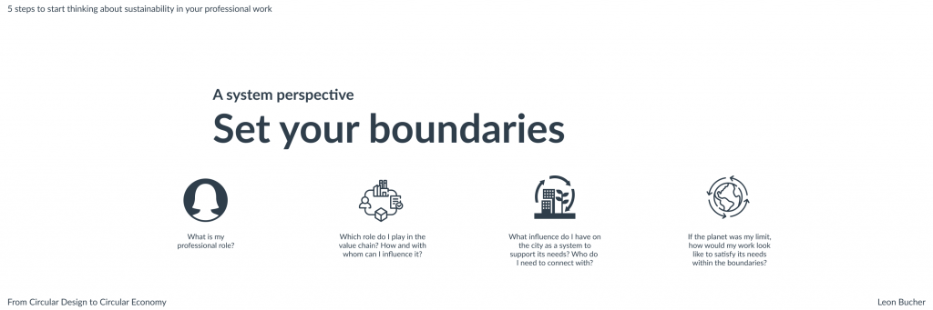 Graphic showing four steps to Set your system boundaries