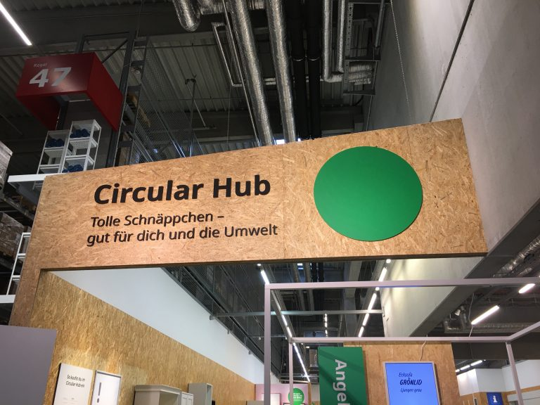 Photo inside an Ikea store showing their Circular Hub sign